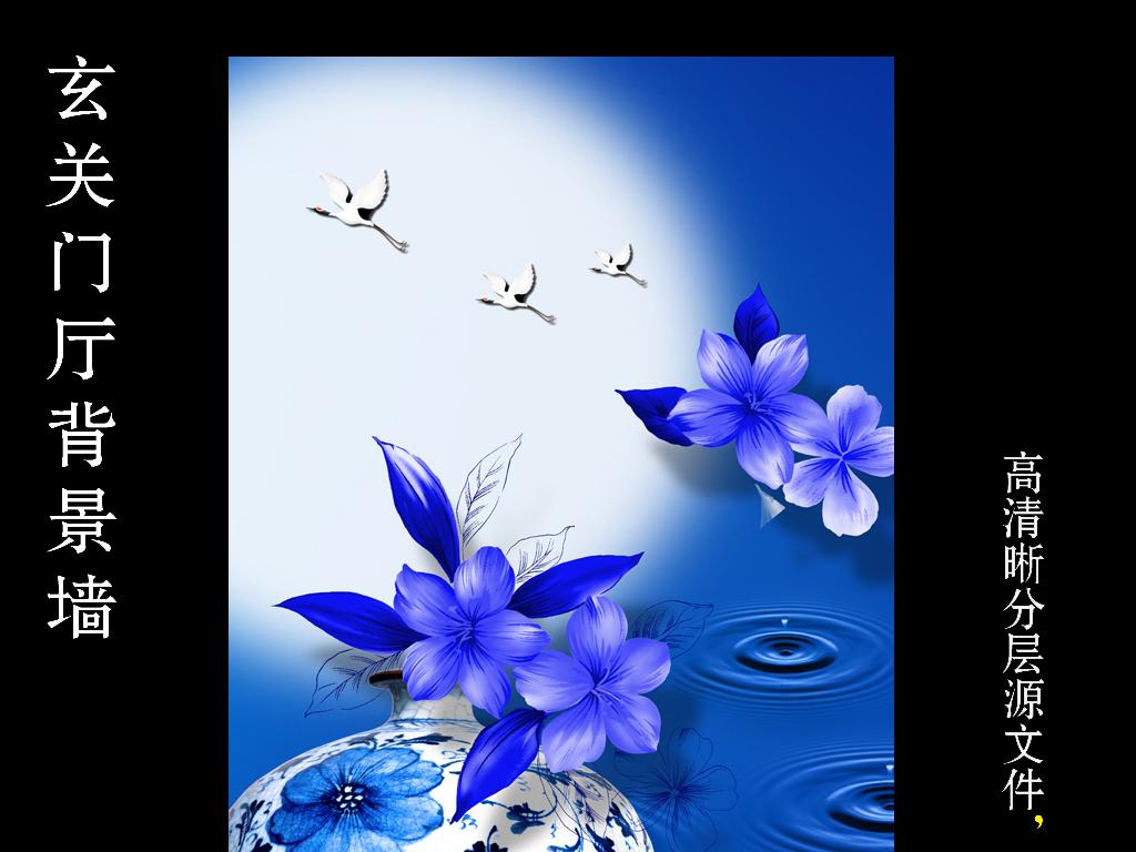 工笔画青花瓷蓝色背景蓝色月亮月亮背景青花瓷背景蓝色月亮背景青花瓷