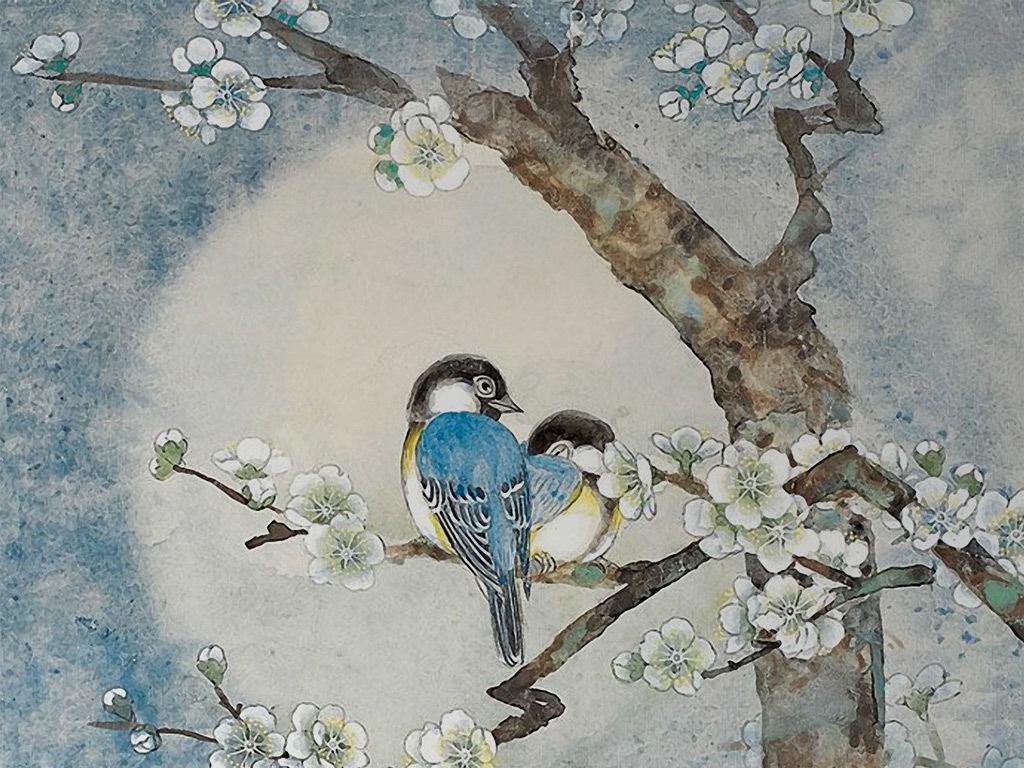 新中式手绘梅花小鸟背景墙壁画