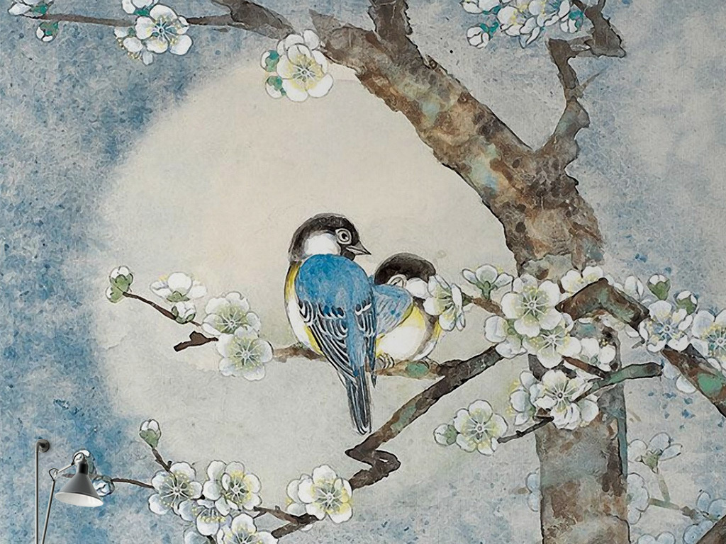 新中式手绘梅花小鸟背景墙壁画图片