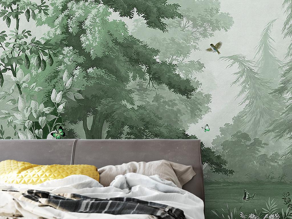 中世纪手绘森林花鸟风景背景墙