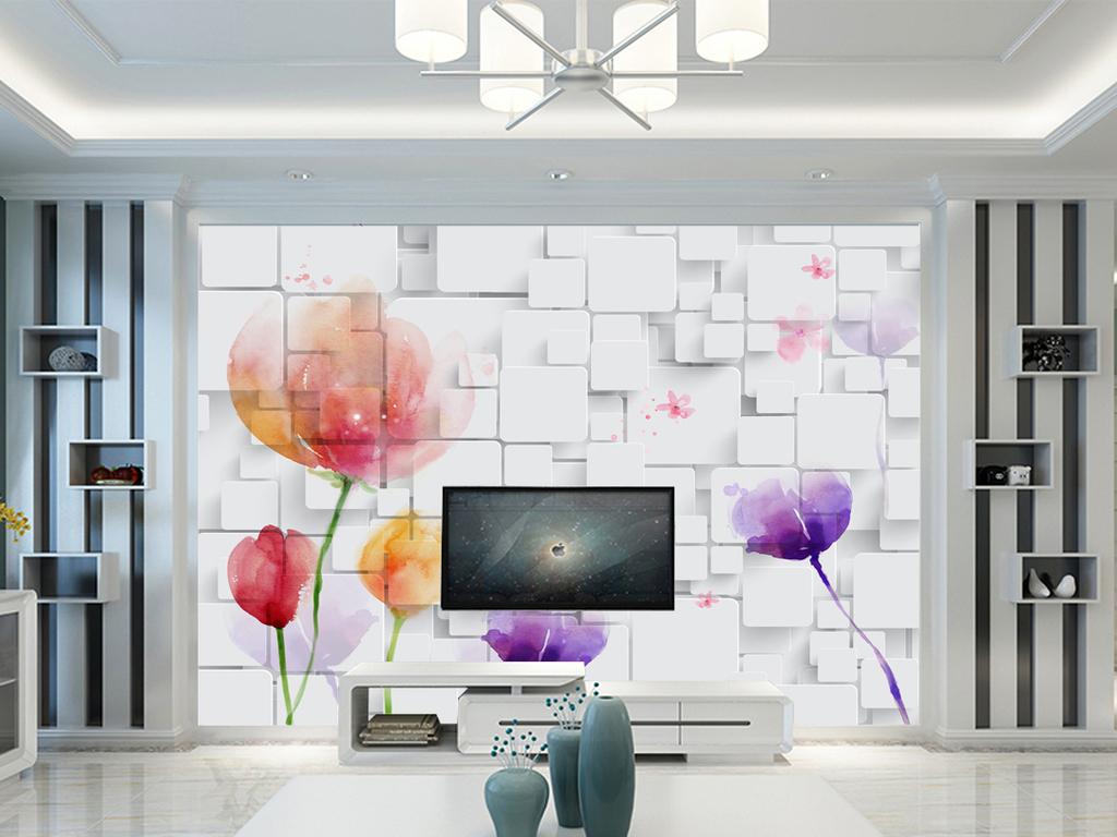 3d立体手绘花纹电视背景墙