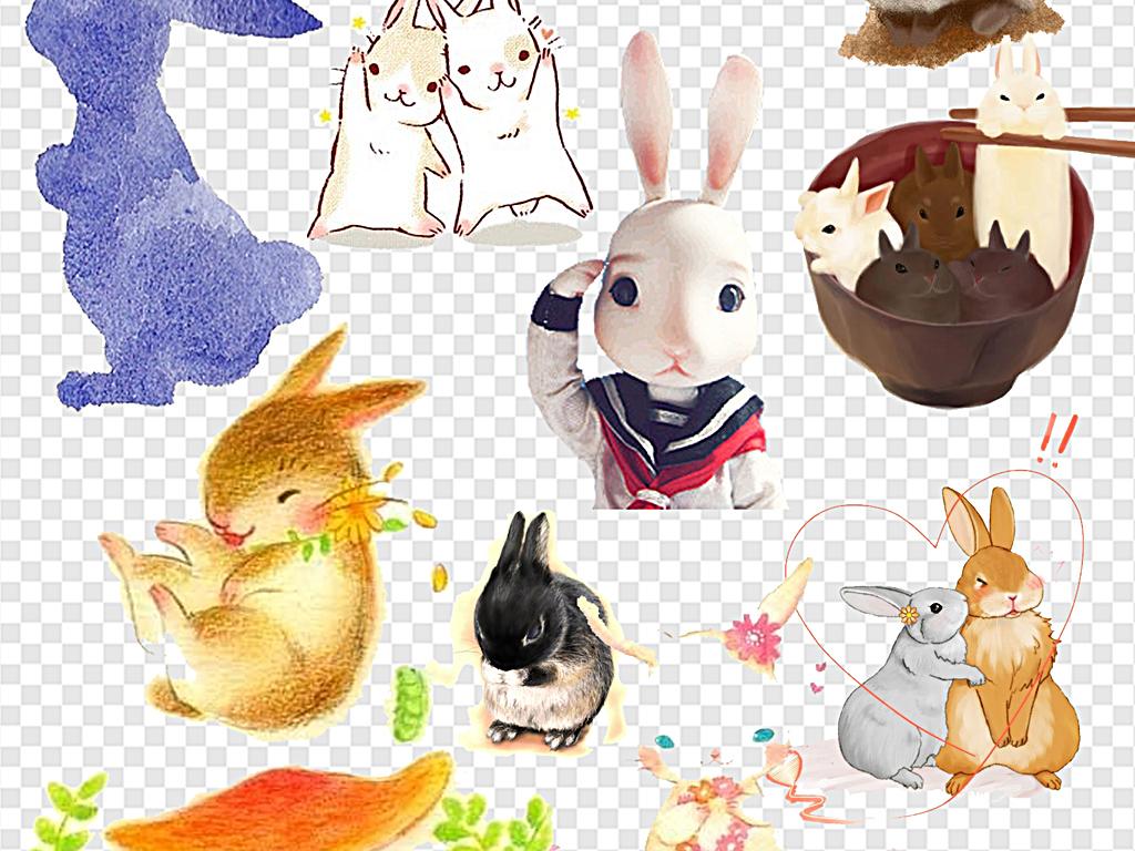 可爱的小动物手绘兔兔子手绘可爱小兔子
