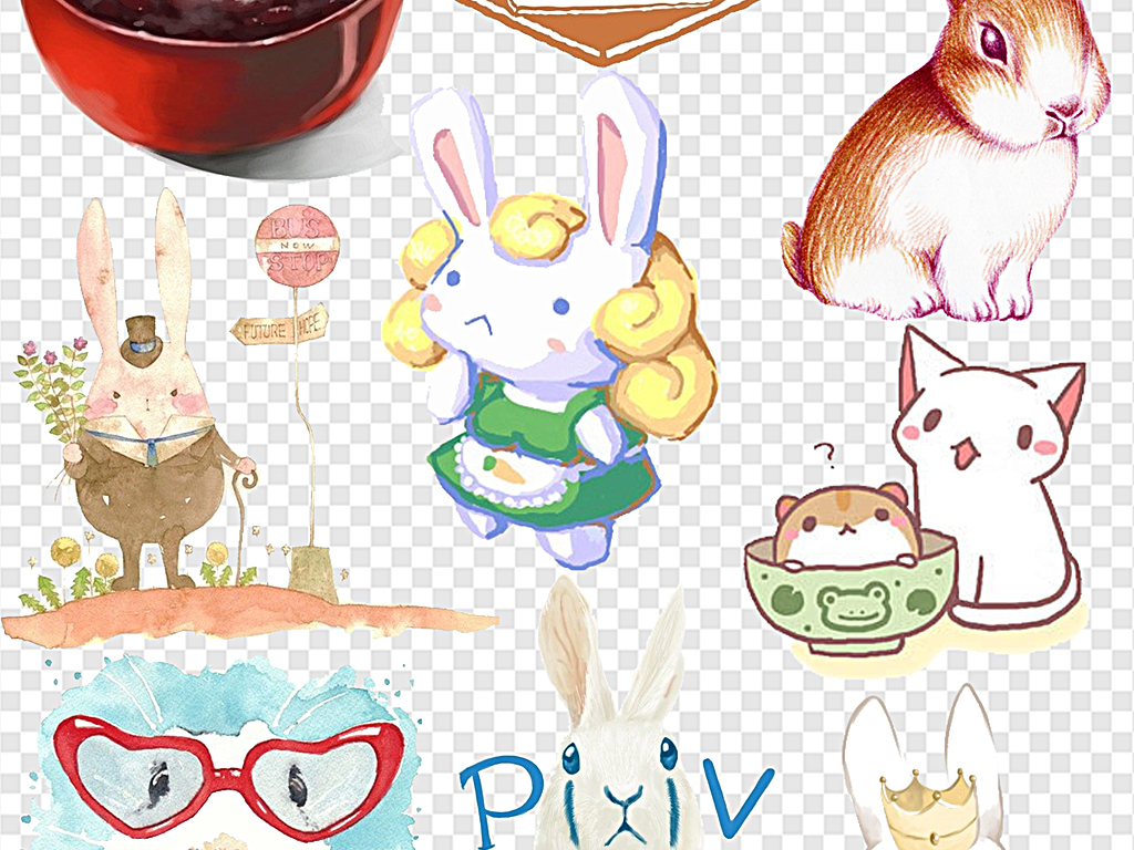 免抠元素 自然素材 动物 > 小兔子手绘兔子耳朵兔子卡通兔子剪影