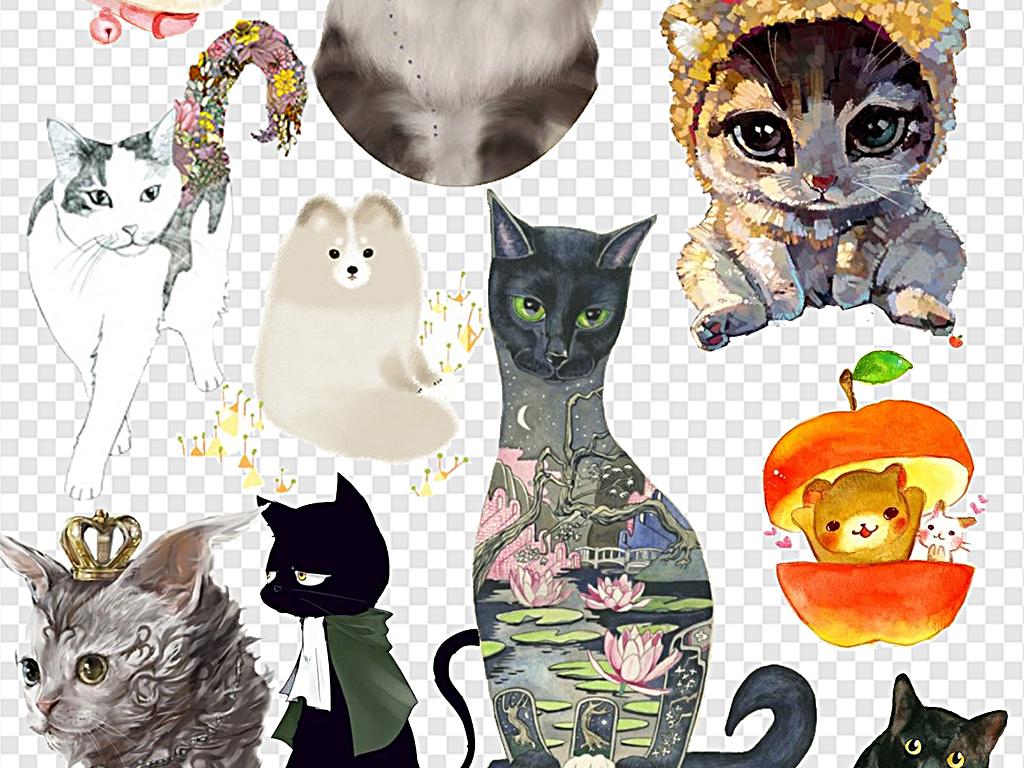 猫咪卡通可爱卡通小猫咪手绘