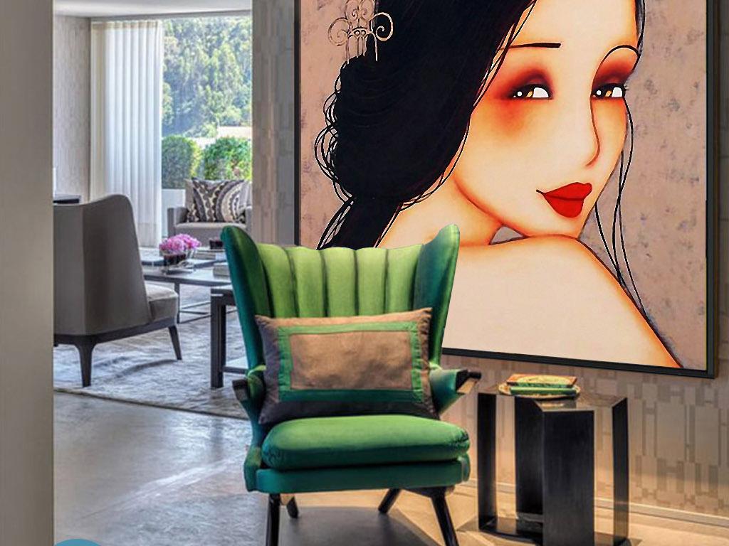 胭脂红中国女人复古欧式手绘现代家居装饰画