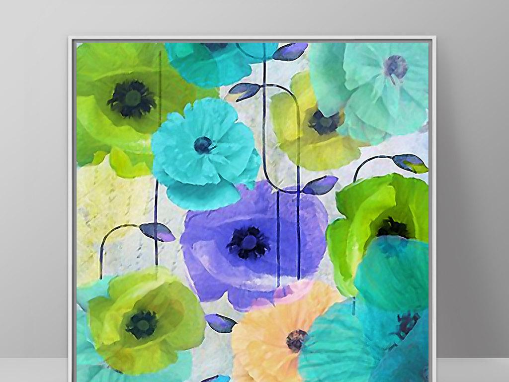 罂粟花欧式复古手绘花卉北欧现代家居装饰画