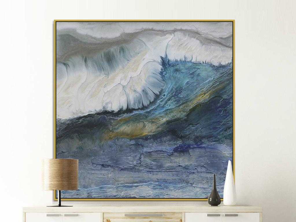 北欧现代蓝色海洋海浪抽象绘画装饰画