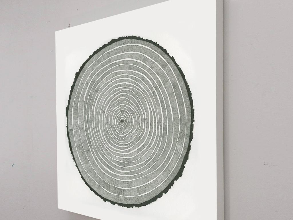 北欧简约创意年轮树木圆圈手绘绘画装饰画