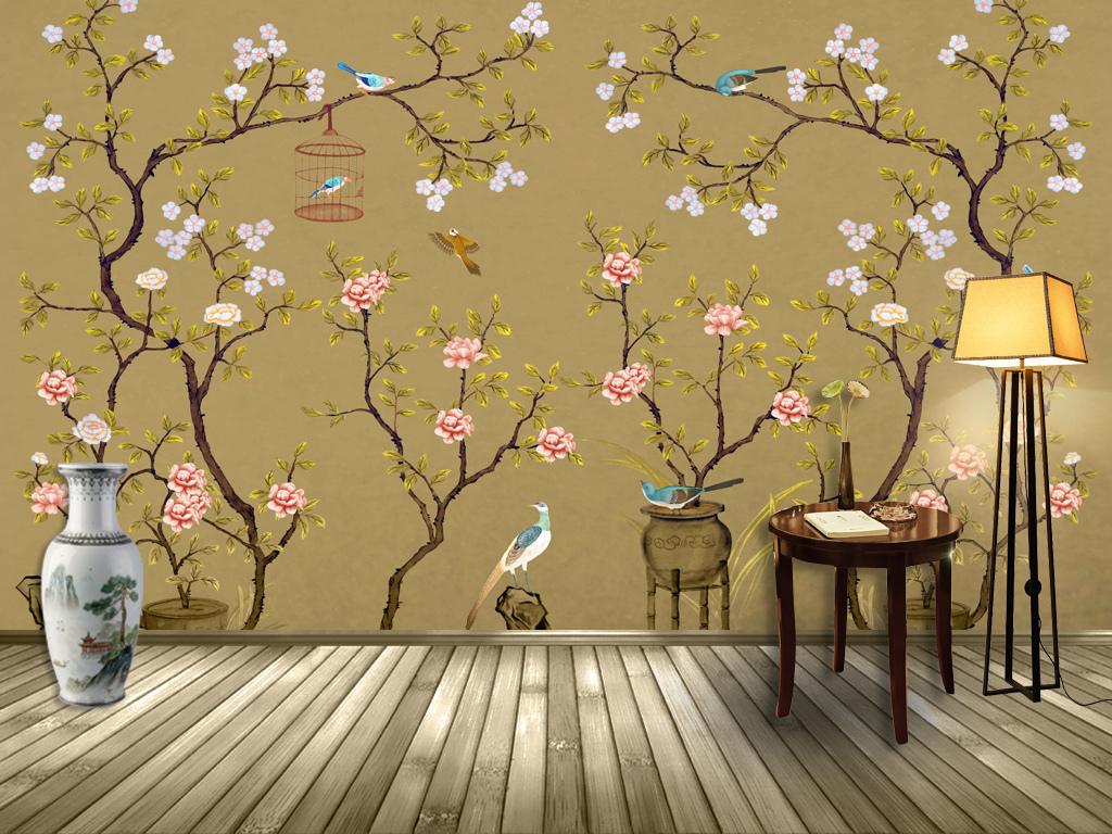 手绘电视背景墙 > 新中式手绘工笔花鸟背景壁画装饰