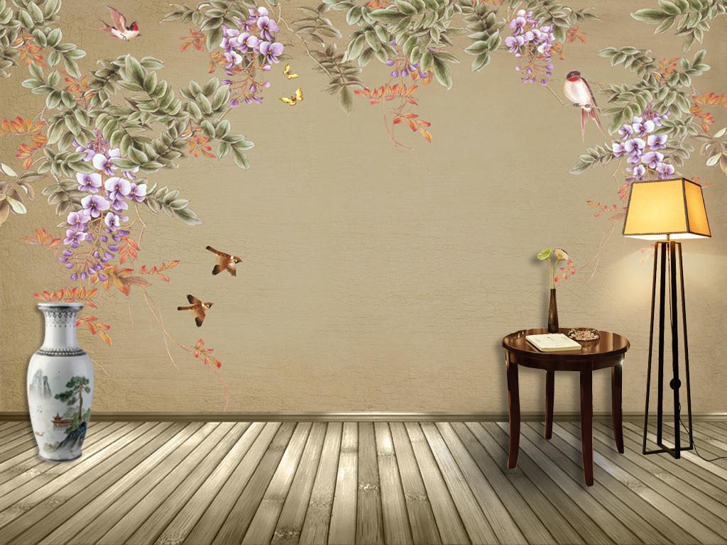 中式手绘工笔花鸟背景墙装饰画壁画