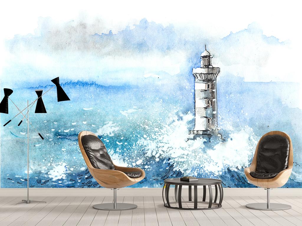手绘水彩画大海灯塔大海背景现代背景水彩背景简约水彩玻璃电视背景