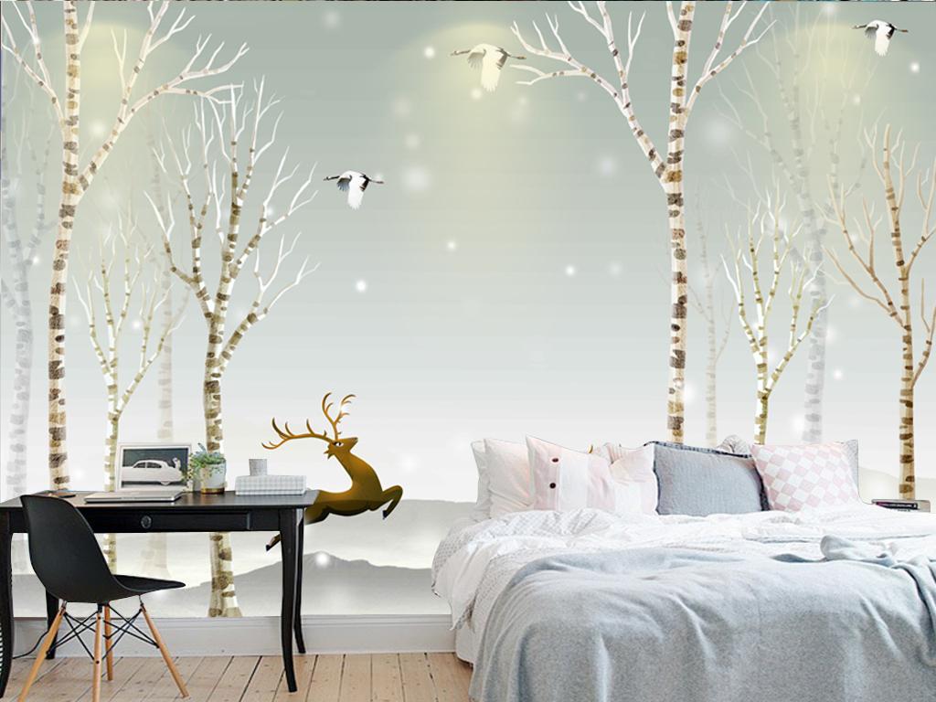 简约壁纸淡雅沙发卧室背景墙壁画