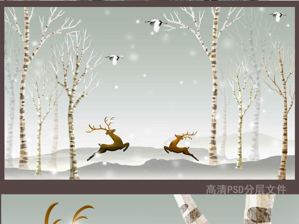 背景简约手绘北欧现代小鹿驯鹿鹿图片卡通鹿圣诞鹿鹿头卡通小鹿手绘鹿