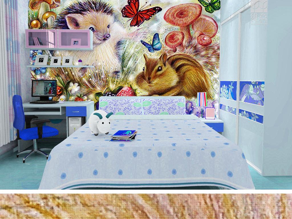 彩铅刺猬蝴蝶蘑菇手绘背景松鼠可爱背景可爱手绘手绘