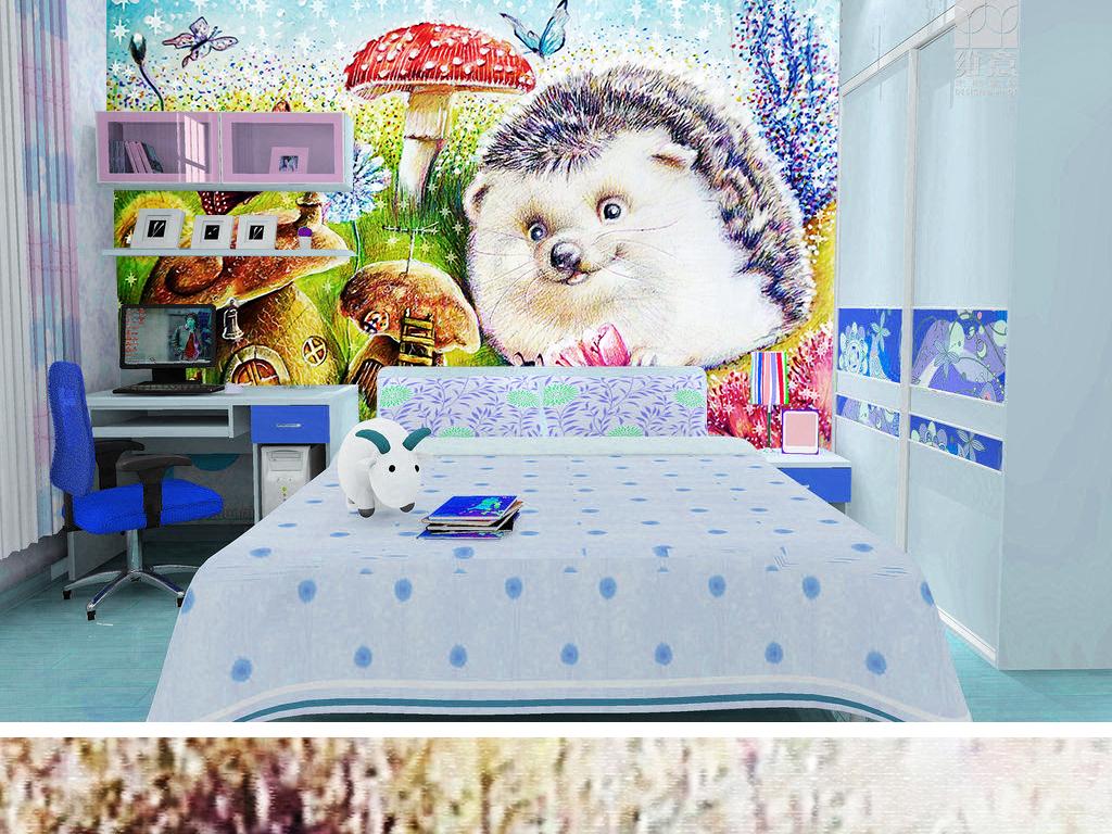 背景墙|装饰画 电视背景墙 手绘电视背景墙 > 可爱刺猬花园散步手绘
