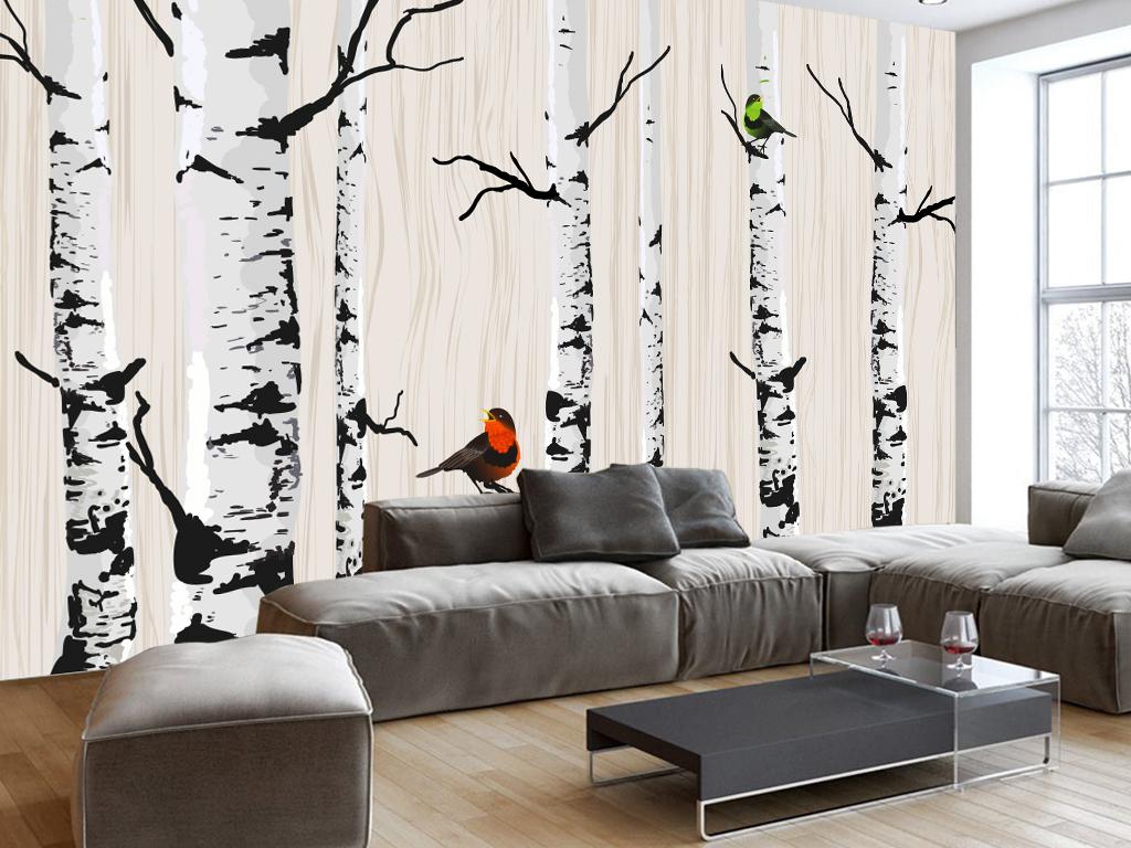 立体电视背景手绘背景白桦树电视现代背景手绘简约