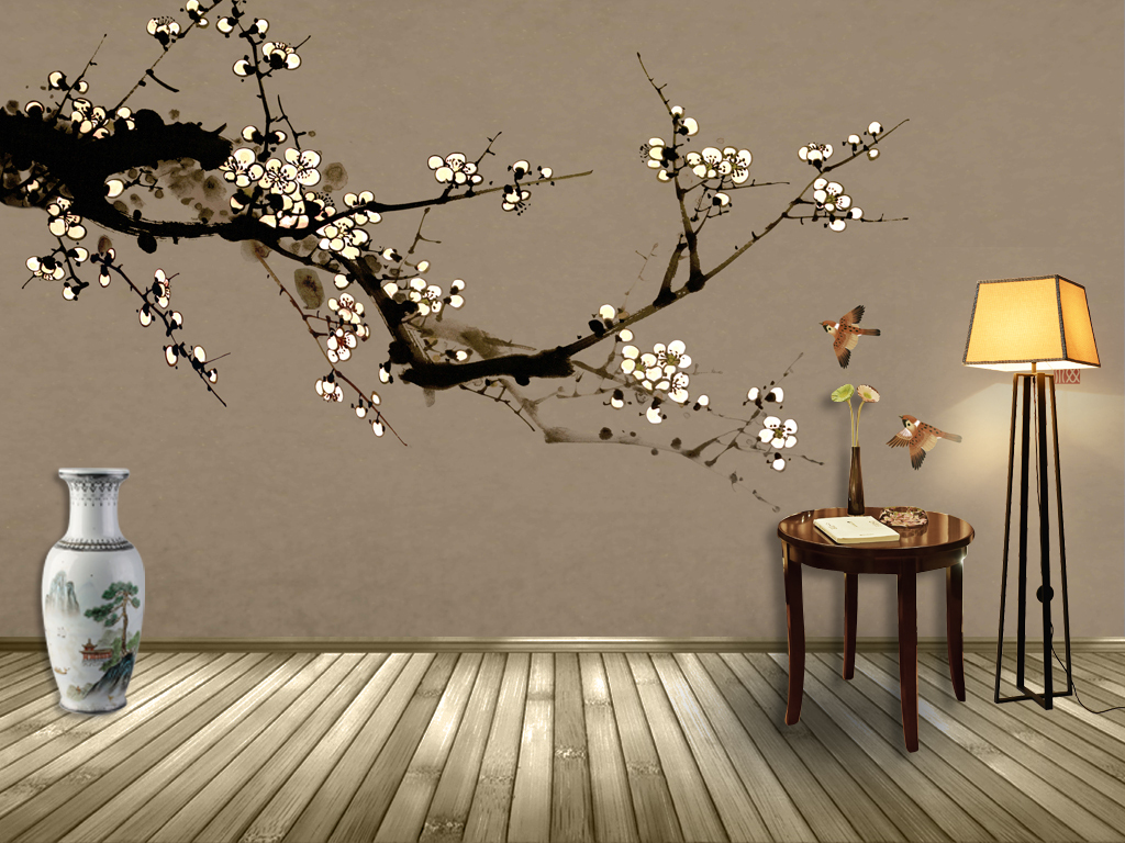 新中式手绘梅花简约背景壁画(图片编号:16076673)_墙图片
