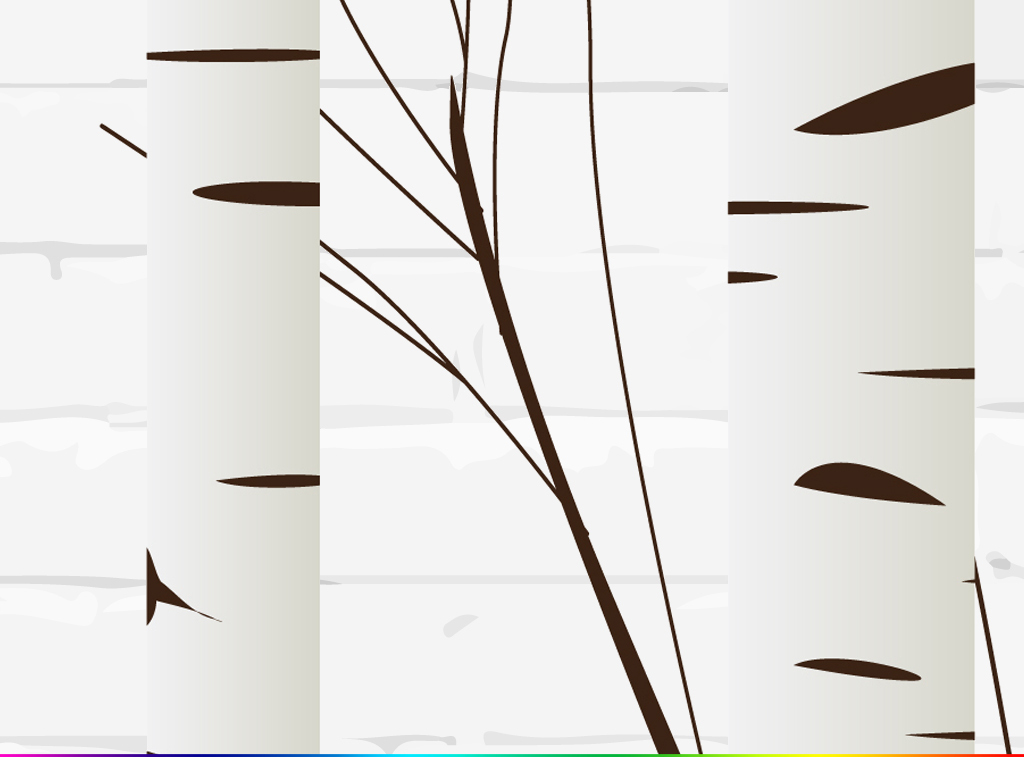 现代简约手绘白桦树林壁画电视背景墙图片设计素材_(6图片