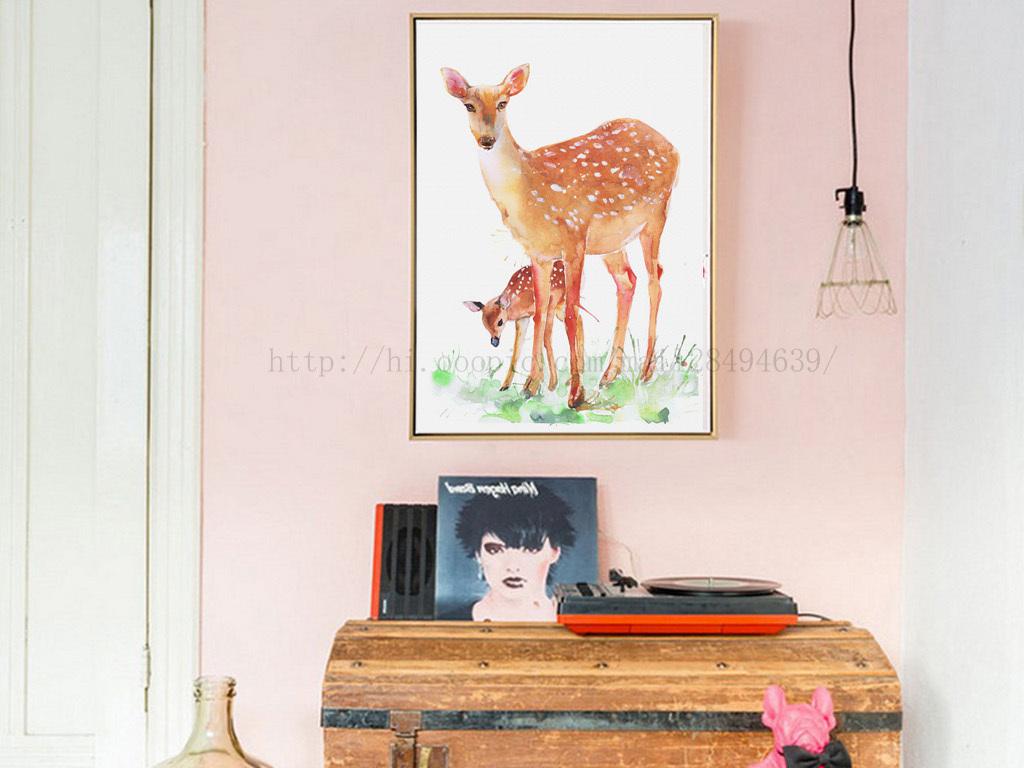 水彩手绘鹿母子亲情淡雅无框画图片设计素材_高清模板