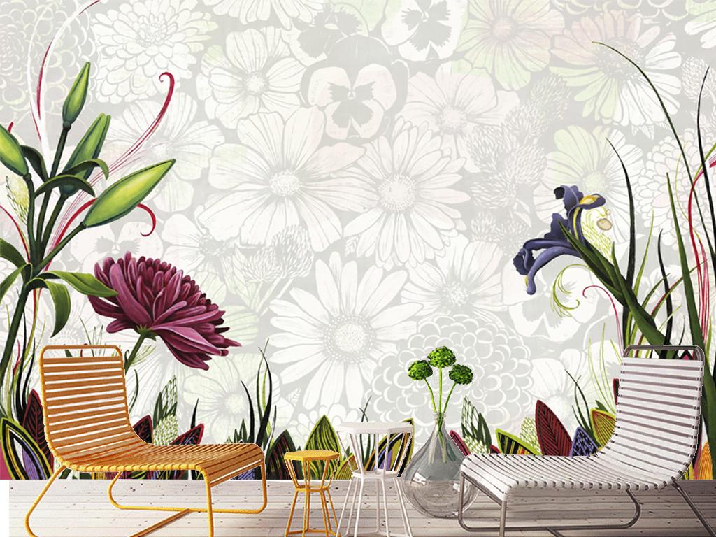 现代简约手绘唯美花朵图案电视沙发背景墙