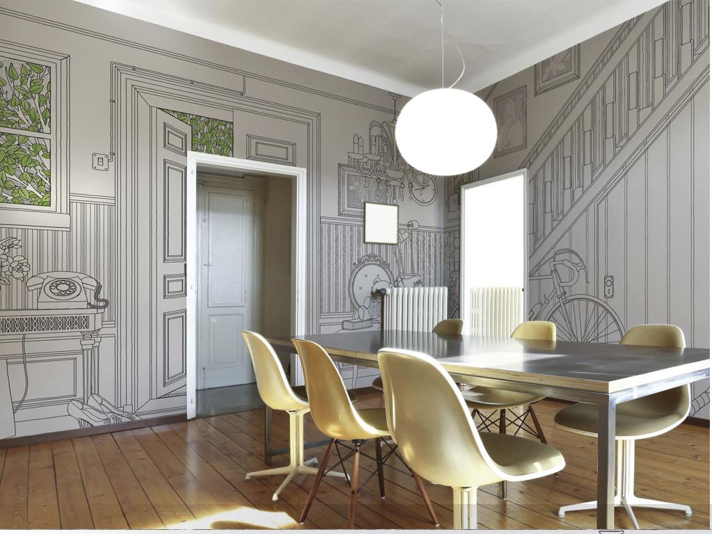 创意手绘线条家装图案装饰画