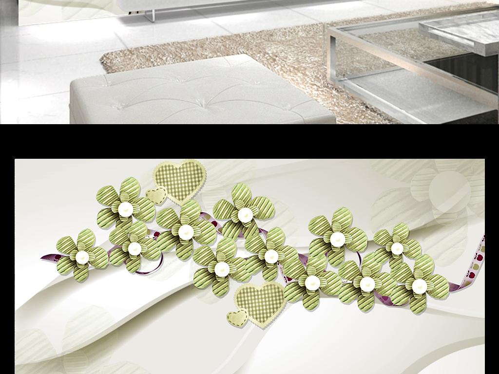欧式简约花卉电视背景墙(图片编号:16077427)