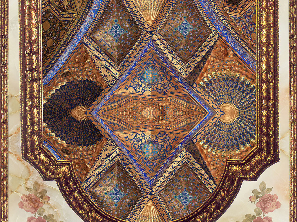 欧式古典花纹天空吊顶天花板壁画图片