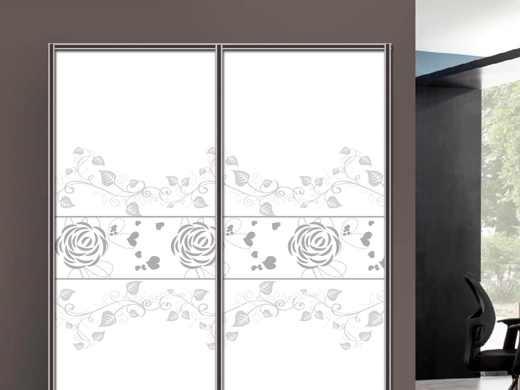 uv打印手绘黑白玫瑰花衣柜移门图片背景