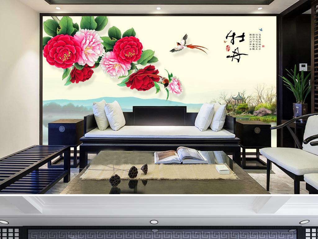 手绘牡丹花电视背景墙图片玻璃电视背景墙图片客厅