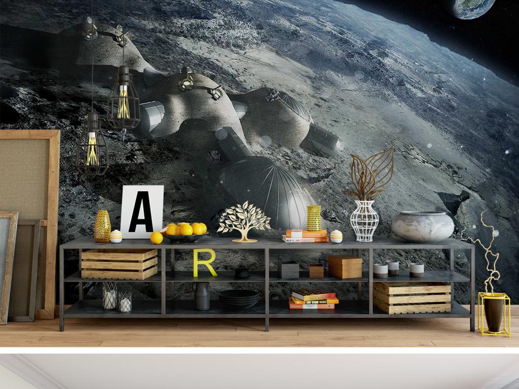 背景墙|装饰画 电视背景墙 手绘电视背景墙 > 蓝色星球表面宇宙飞船