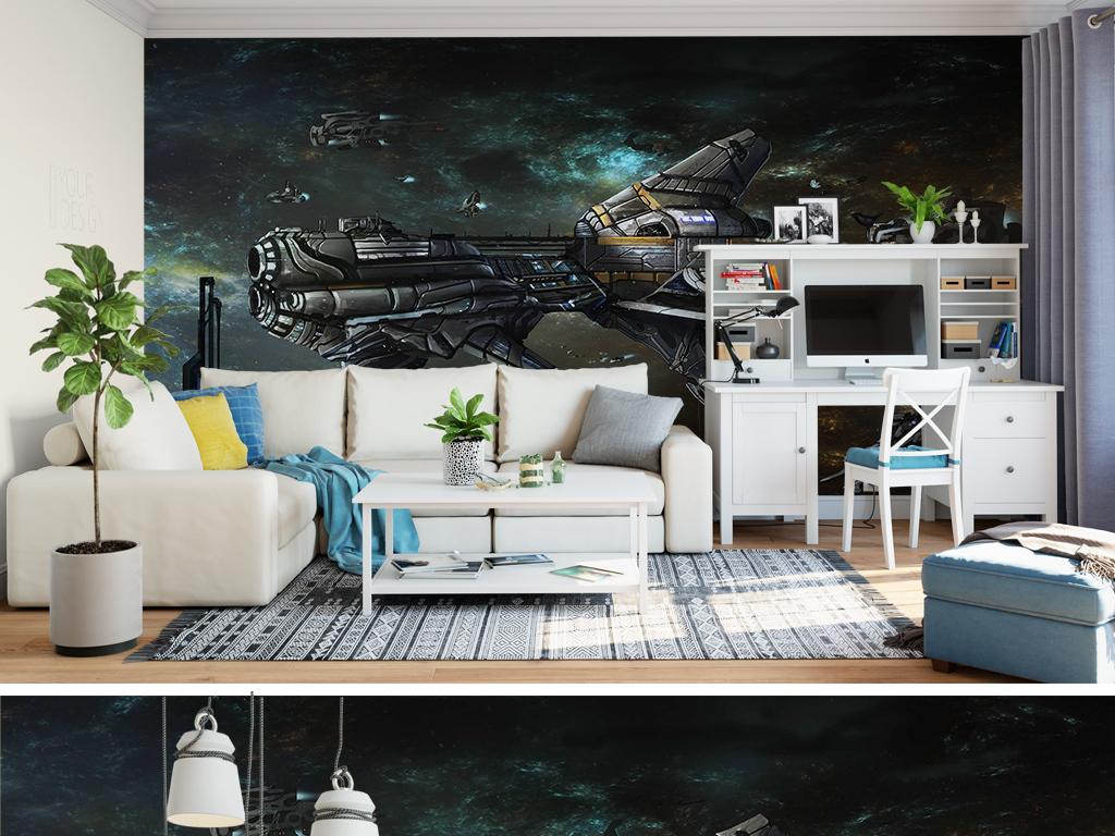 手绘电视背景墙 > 大型工装手绘机械卡通飞船战争ktv