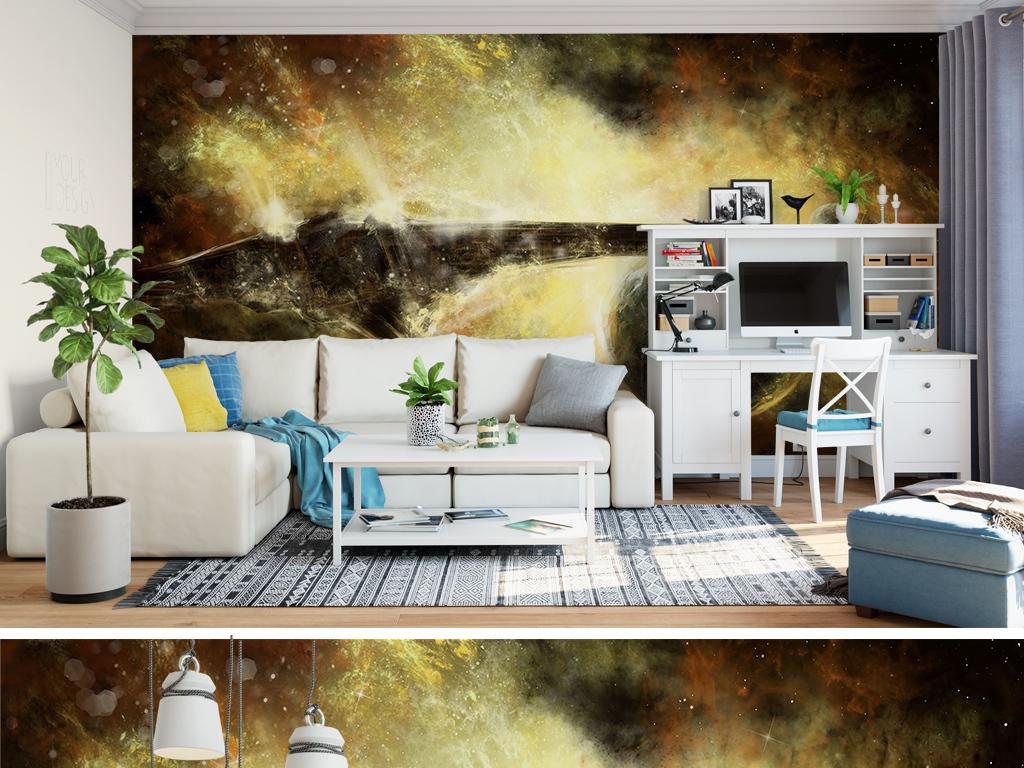 欧式复古大气抽象风景油画背景墙
