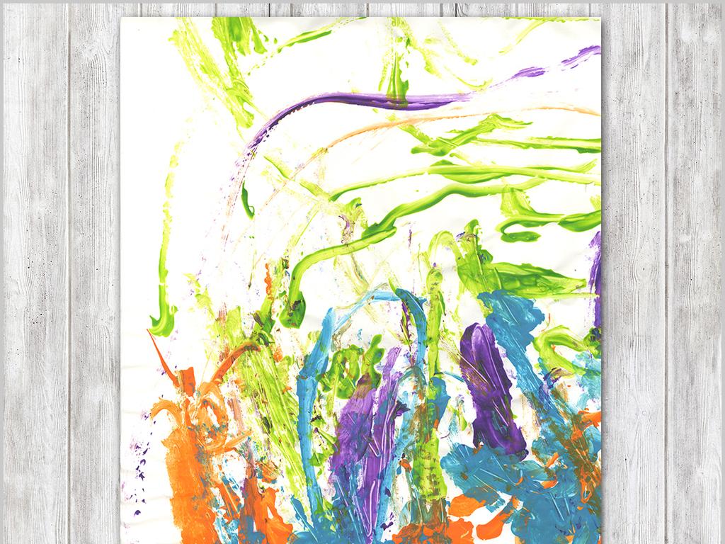 手绘涂鸦新抽象主义绘画欧式儿童房装饰画