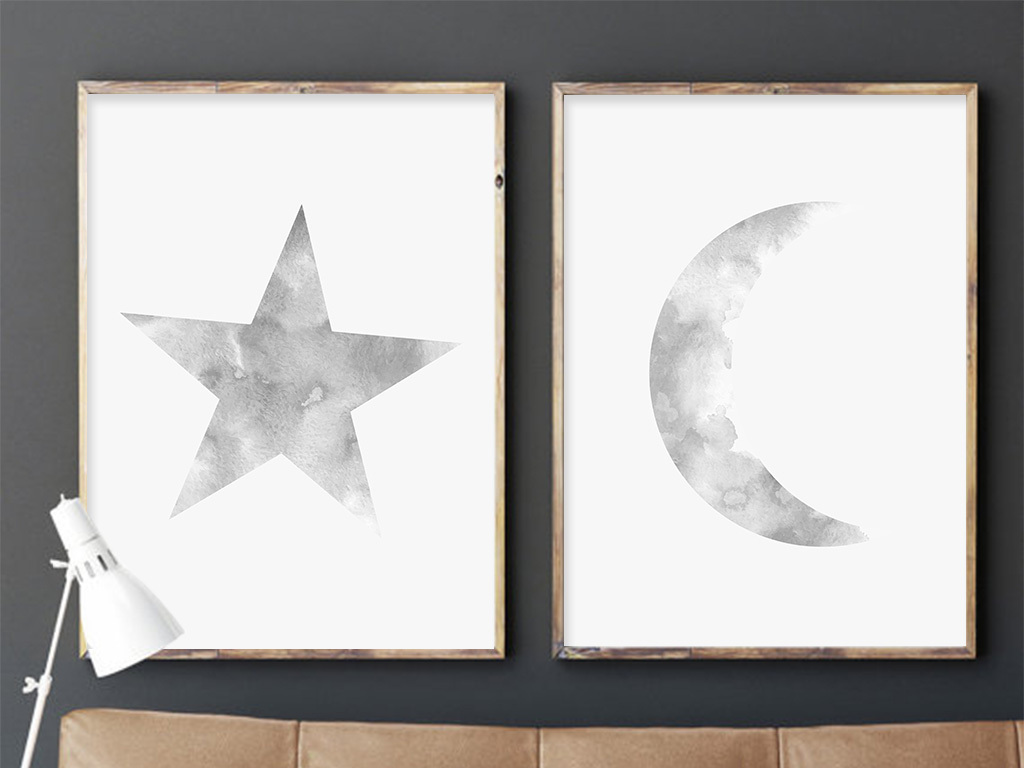 现代简约星星和月亮月家居无框装饰画