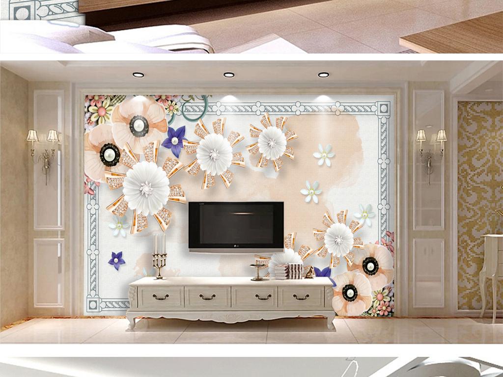2017-01-16 14:11:33 我图网提供精品流行欧式边框花卉珠宝电视背景墙图片
