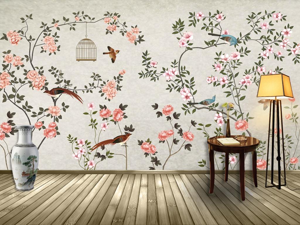 新中式手绘工笔花鸟背景装饰画壁画(图片编号:)_手绘