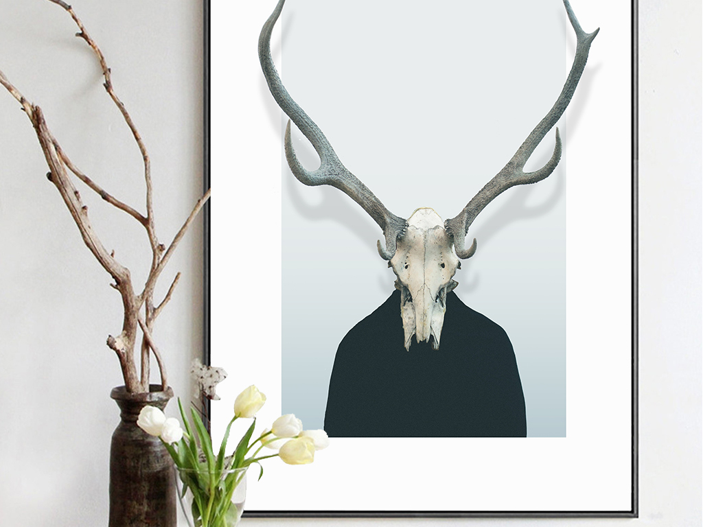 北欧鹿头鹿骨简约装饰画挂画图片