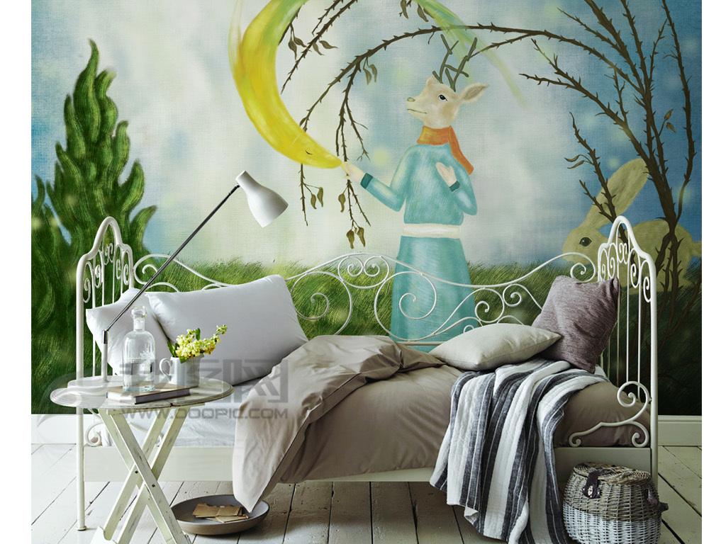 手绘卡通梦幻动物背景墙装饰画