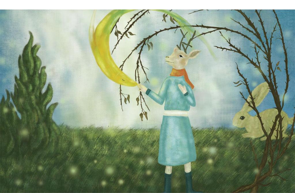 动物梦幻卡通装饰画手绘卡通动物手绘人物手绘背景手绘墙手绘背景墙
