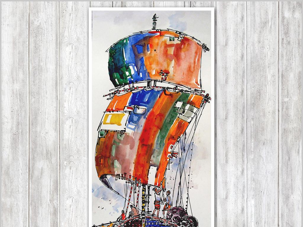 现代简约抽象手绘卡通帆船客厅装饰画无框画