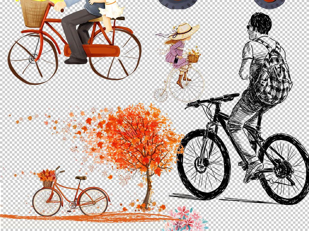 卡通手绘户外自行车素材图