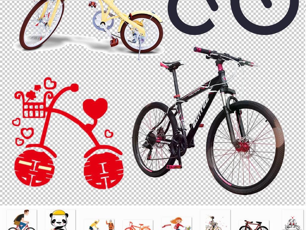 卡通手绘自行车设计海报素材