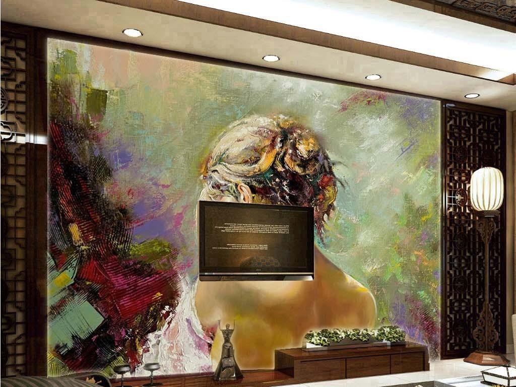欧式抽象手绘水彩油画美女的背影