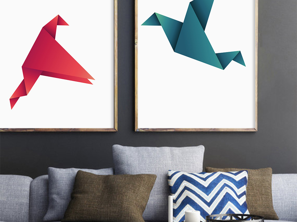 创意抽象折纸家居无框装饰画