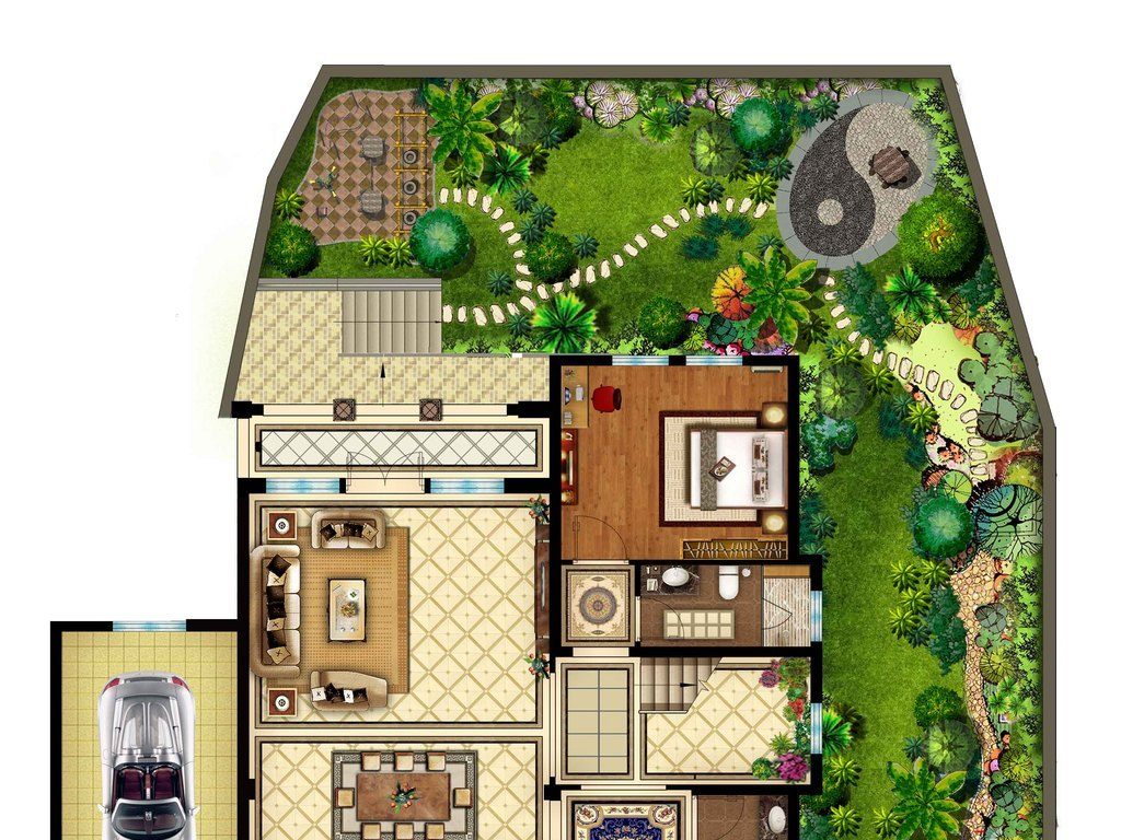 图素材室内彩色平面图庭院彩色平面图彩色平面图家具