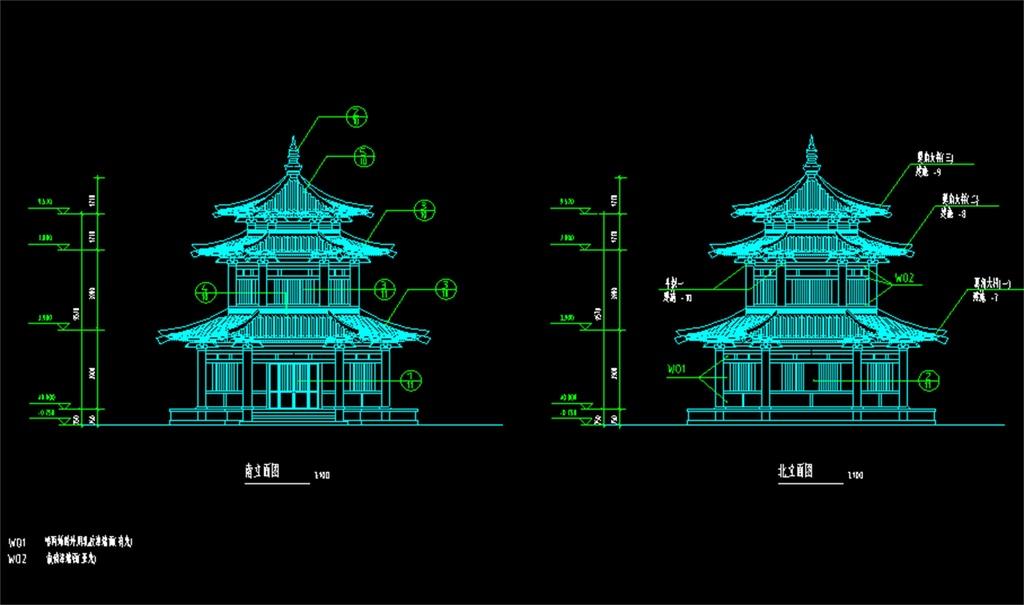 古建筑殿阁cad设计图殿阁cad图纸皇宫寺庙宫阁cad