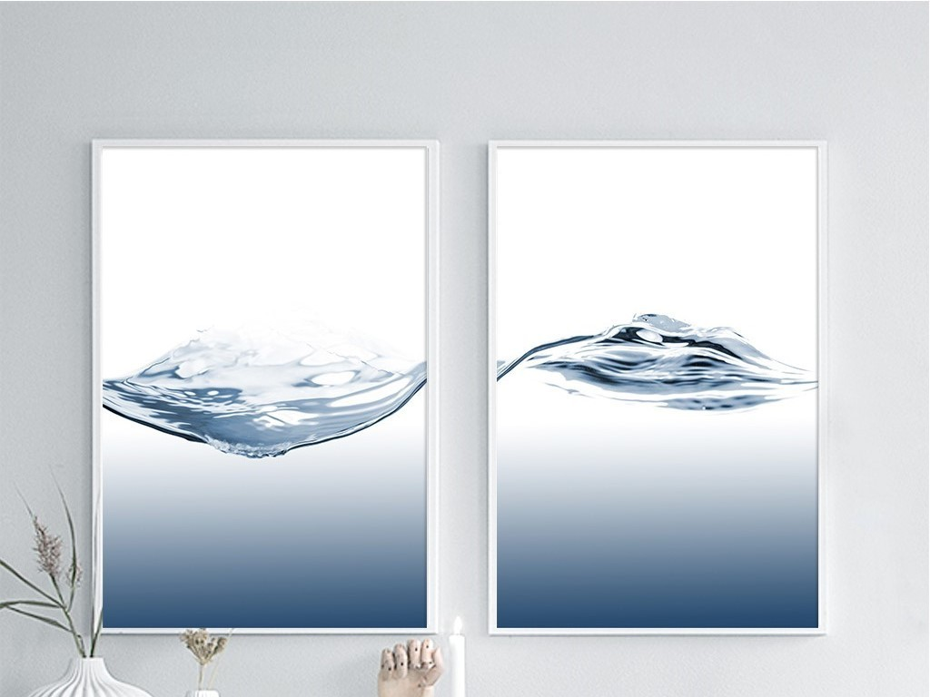 两联蓝色水波浪北欧风极简无框画图片