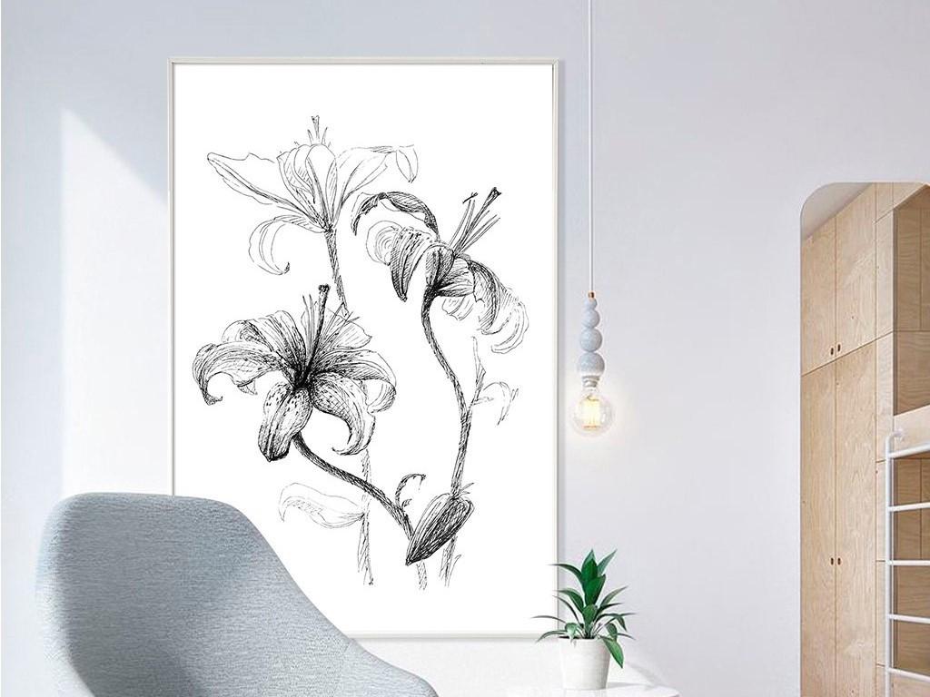 手绘素描线条百合花黑白简约北欧无框画
