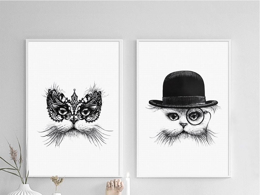 喵先生和喵太太黑白简约二联时尚动物无框画