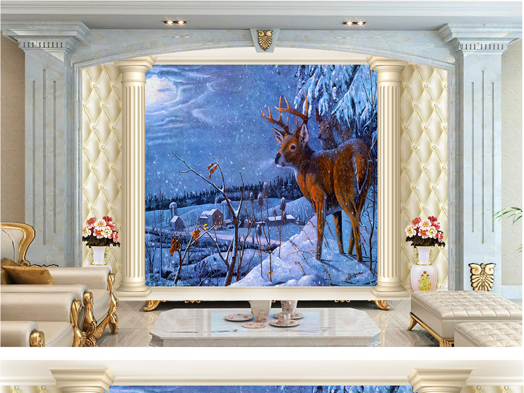 壁画动物油画狼鹿老虎老鹰罗马柱花瓶软包客厅电视